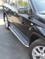 Пороги  Nissan X-Trail (T31) 2007-2014 (труба d 42 с листом)