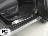 Накладки на пороги Suzuki SX4 2013- (Premium)