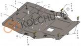 Кольчуга Защита двигателя, коробки передач, радиатора Mitsubishi Outlander 2015-