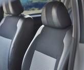 EMC (Экокожа + Автоткань) Чехлы на сиденья Dacia Logan MCV 2006- цельная спинка