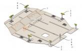 Кольчуга Защита двигателя, коробки передач Mitsubishi Outlander 2012- (Сборка USA)