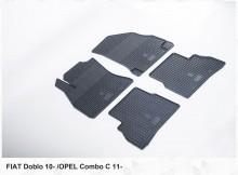 Резиновые коврики Fiat Doblo 2010- (клетка)