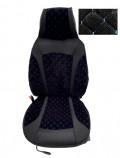 Накидки на сидения Черные (синяя нитка) комбинированный Pilot (передние)