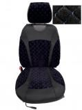 Накидки на сидения Черный (синяя нитка) комбинированный Standart (передние)