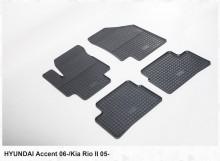 Резиновые коврики Hyundai Accent 2006-2010 Kia Rio 2005-2011 (клетка)