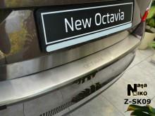 Накладка на бампер с загибом Skoda Octavia A7 2013- Liftback