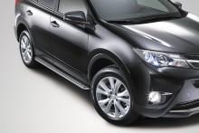 Пороги Toyota RAV4 2012- (труба d 42 с листом)