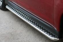 Пороги Volkswagen Tiguan 2007-2011- (труба d 42 с листом)