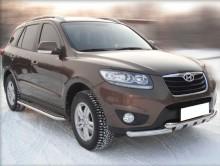 Пороги Hyundai Grand Santa Fe 2013- (труба d 60 с листом)